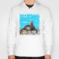 otters Hoodies featuring Where the River Meets the Sea Otters by Distortion Art
