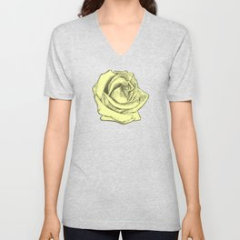 Rose Sketch Yellow Tints Unisex V-Neck