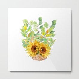 Basket Full of Sunflowers Metal Print