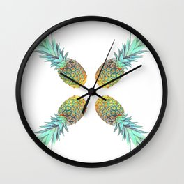 Four pineapples Wall Clock