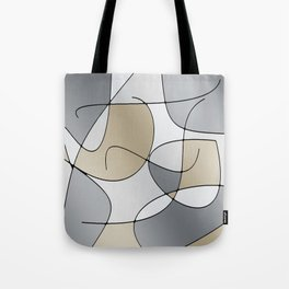 ABSTRACT CURVES #1 (Grays & Beiges) Tote Bag