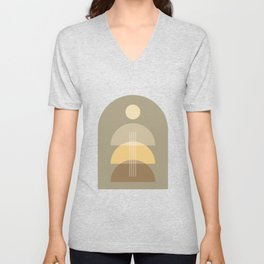 Abstraction Shapes 2 in Neutral Shades (Sun, Moon Phases and Window) Unisex V-Neck