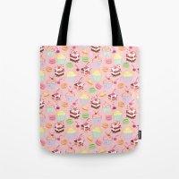 macaroon Tote Bags featuring sweet pattern aka cake , cupcake and macaroon by Marta Olga Klara