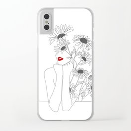 Minimal Line Art Girl with Sunflowers Clear iPhone Case