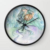 aquarius Wall Clocks featuring Aquarius by Aline Souza de Souza