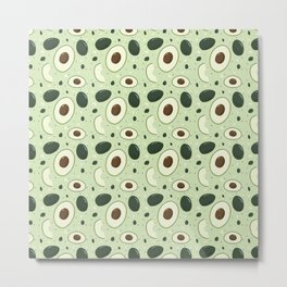 Cute Vintage Fruit Illustration Avocado Metal Print