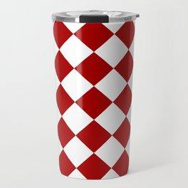 Red and white square pattern Travel Mug