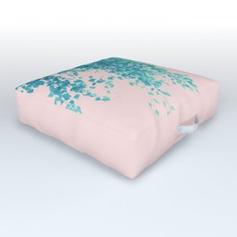 Turquoise Blush Leaves Delight #1 #tropical #decor #art #society6 Outdoor Floor Cushion