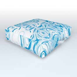 Blue organic abstract Outdoor Floor Cushion