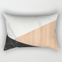 Marble and Wood Abstract Rectangular Pillow