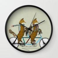 onesie Wall Clocks featuring Foxy days lets tandem by bri.buckley