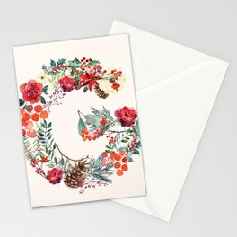 G Alphabet Floral Watercolor Stationery Cards