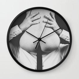 Photograph Erotic Art  - Nude woman sitting on a man Wall Clock