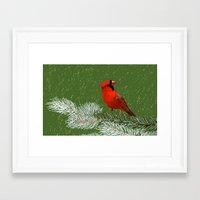 cardinal Framed Art Prints featuring Cardinal by Janko Illustration