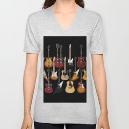 Too Many Guitars! Unisex V-Neck