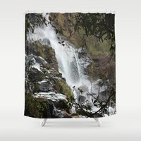 waterfall Shower Curtains featuring Waterfall by Four Hands Art