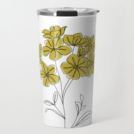 Botanical floral illustration line drawing - Iona Travel Mug