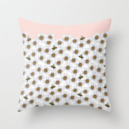 Bees on Daisies - Flora & Fauna Throw Pillow