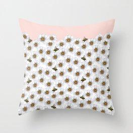 Bees on Daisies - Flora & Fauna Throw Pillow