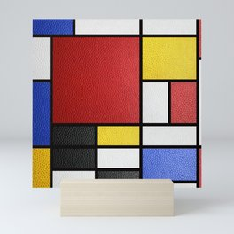 Mondrian in a Leather-Style Mini Art Print