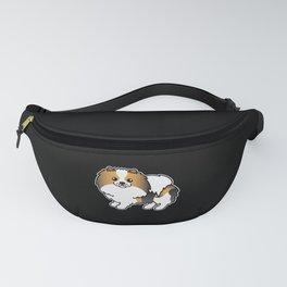 Hound Tricolor Pomeranian Dog Cute Cartoon Illustration Fanny Pack