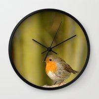 robin Wall Clocks featuring Robin by Susann Mielke