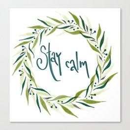 Blue green stay calm wreath Canvas Print