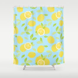 Bright And Sunny And Stamped Lemon Citrus Pattern Shower Curtain