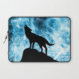 Howling Winter Wolf snowy blue smoke Laptop Sleeve