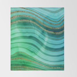 Ocean Blue And Green Mermaid Glamour Marble Throw Blanket