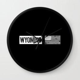 US Flag: Wyoming Wall Clock