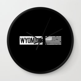 US Flag: Wyoming Wall Clock