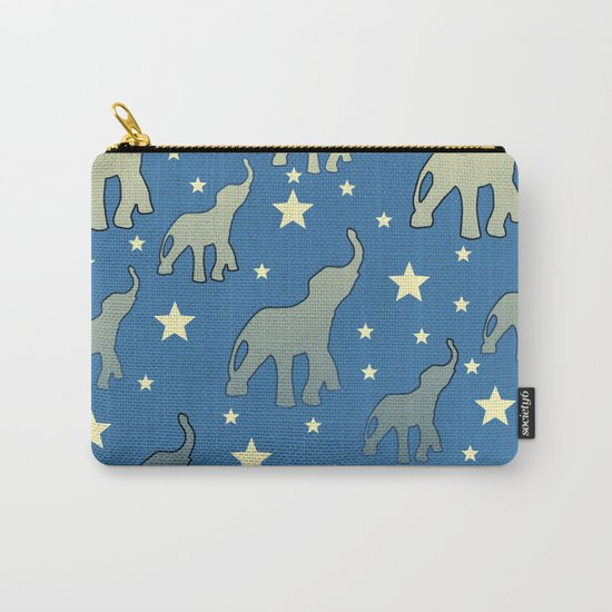 Blue Elephants Stars Pattern Carry-All Pouch