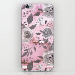 berry juice floral watercolor pink gray iPhone Skin