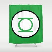 green lantern Shower Curtains featuring Green Lantern Symbol by Crayle Vanest