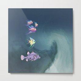 Tropical Fish and Wave Metal Print