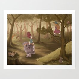 Forest creatures Art Print