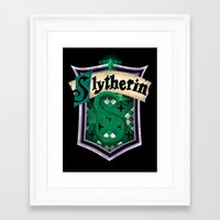 slytherin Framed Art Prints featuring Slytherin by Zeynep Aktaş