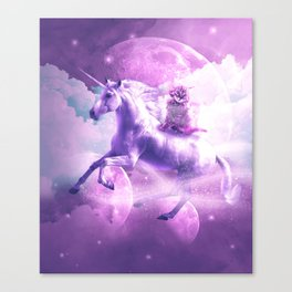 Kitty Cat Riding On Flying Space Galaxy Unicorn Canvas Print