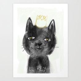 El Rey, The black cat Art Print
