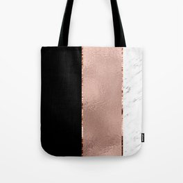 Rose metallic striping - marble and onyx Tote Bag