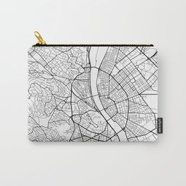 Budapest Map, Hungary - Black and White Carry-All Pouch