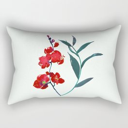 Coral red orchid navy ocean blue foliage simple watercolor design Rectangular Pillow
