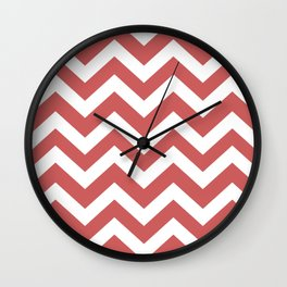 Indian red - pink color - Zigzag Chevron Pattern Wall Clock