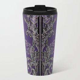 Blue and Silver Thistles Travel Mug