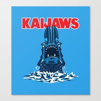 pacific rim Canvas Prints featuring KaiJaws (Pacific Rim/Jaws) by Tabner's
