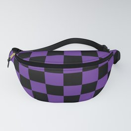 Halloween Purple and Black Checkerboard Pattern LG Fanny Pack