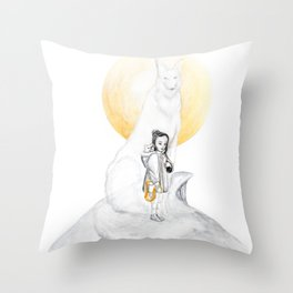 the guardian girl with wolf spirit golden collection Throw Pillow