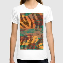 Abstract orange jade brown safari geometrical print T-shirt