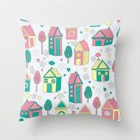 home sweet home Throw Pillows featuring Home by One April